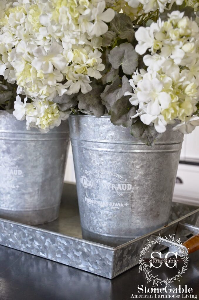 Farmhouse decor galvanized bins