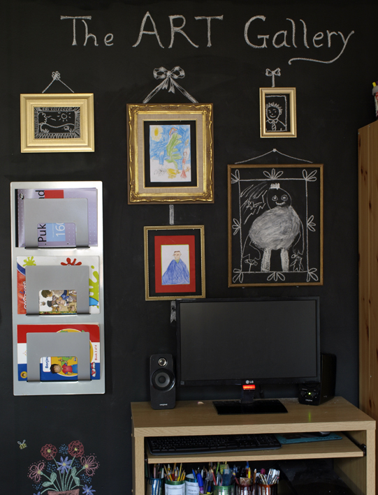 chalkboard gallery wall for kid's art evolved