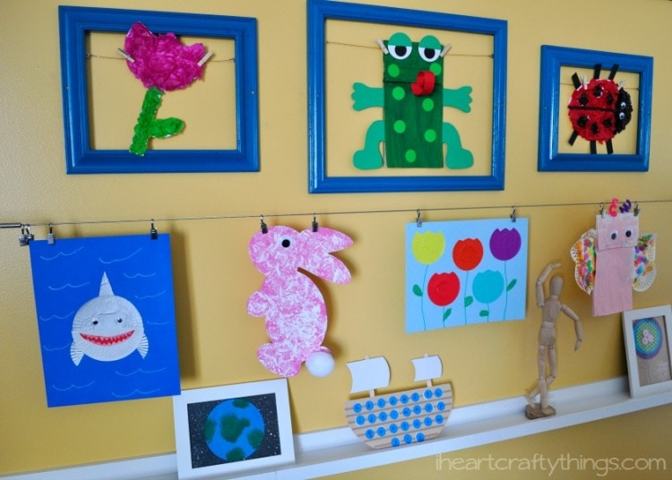 wire and clips kids art wall