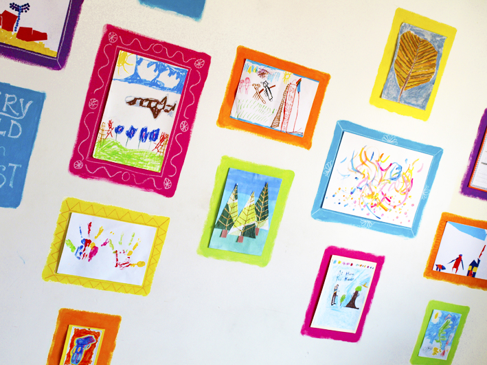 Colorful kid's art gallery