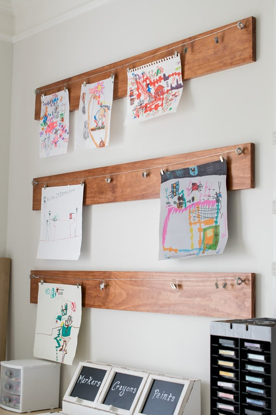 wire and hanging clips for children's art
