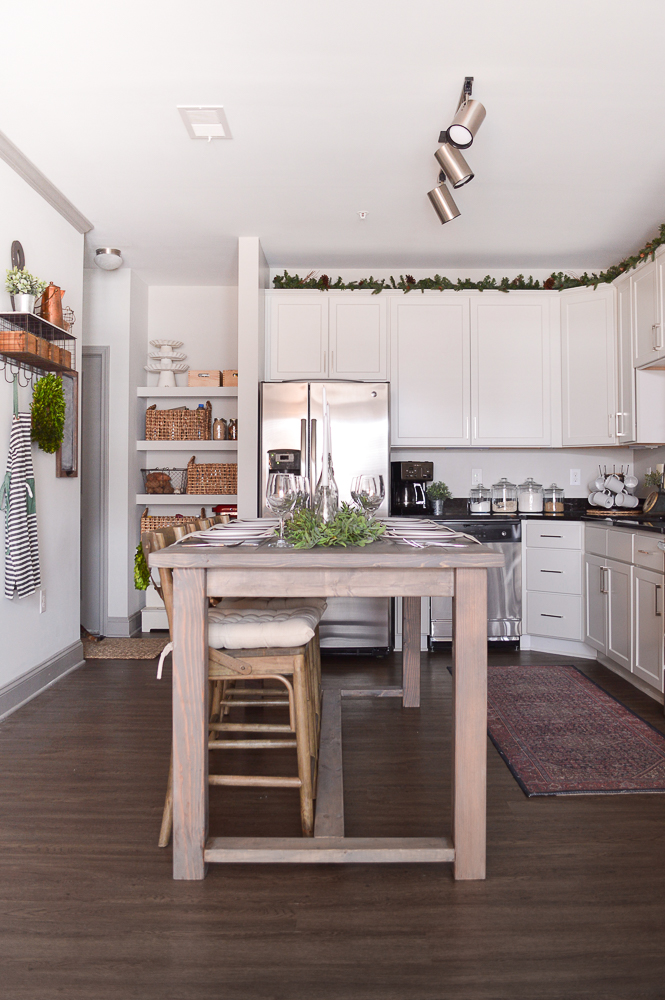 simple Christmas decor in the kitchen