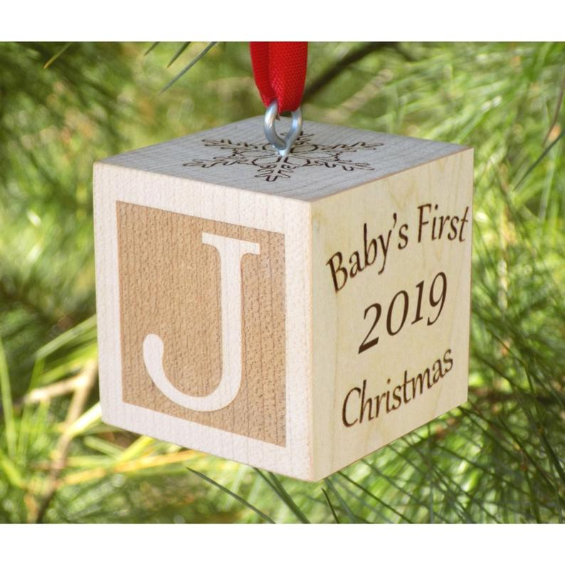 baby's first Christmas wooden block
