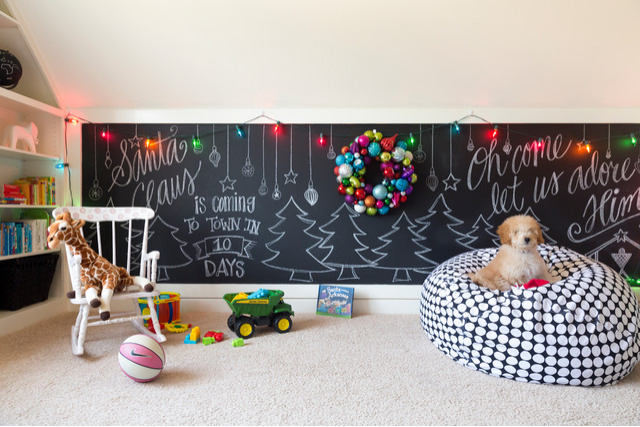 Christmas chalkboard wall in children's room