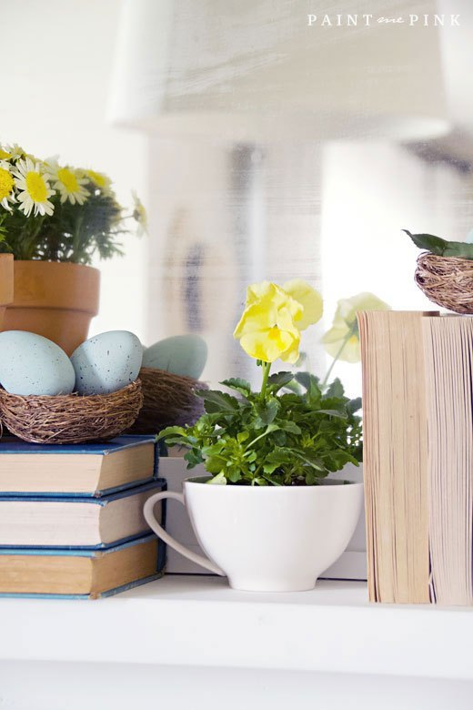 spring decor books and cups