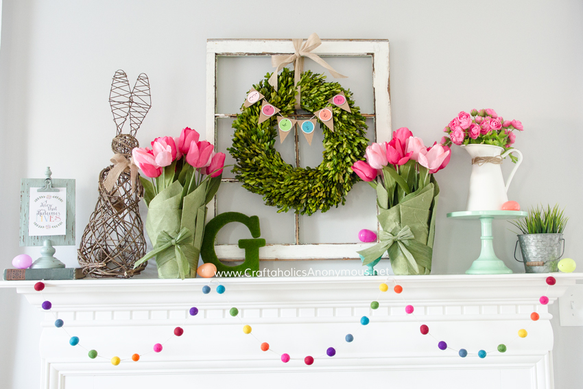 bright spring mantel