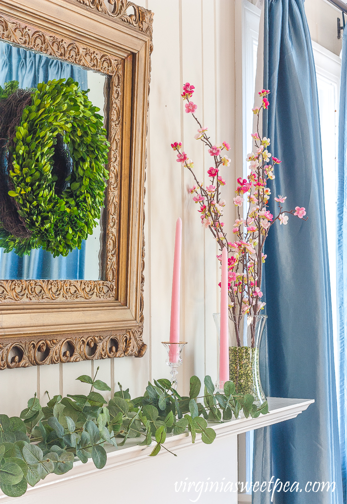 green and pink spring mantel