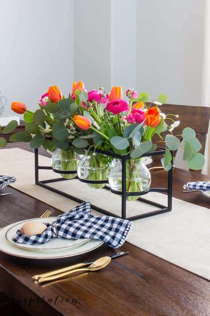 colorful spring flower centerpiece