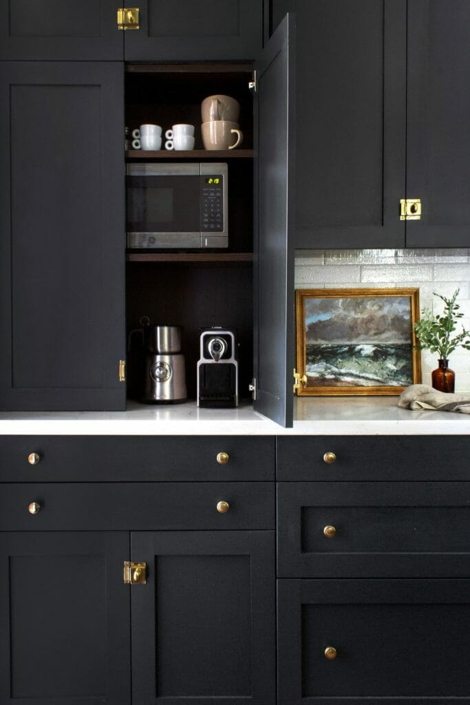 black cabinetry inside and out