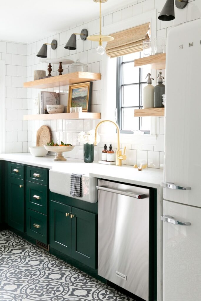 forest green cabinets
