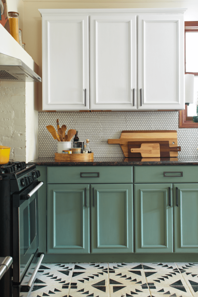green low cabinets