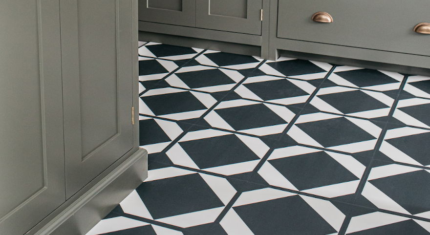 kitchen design ideas: geometric patterned kitchen floor