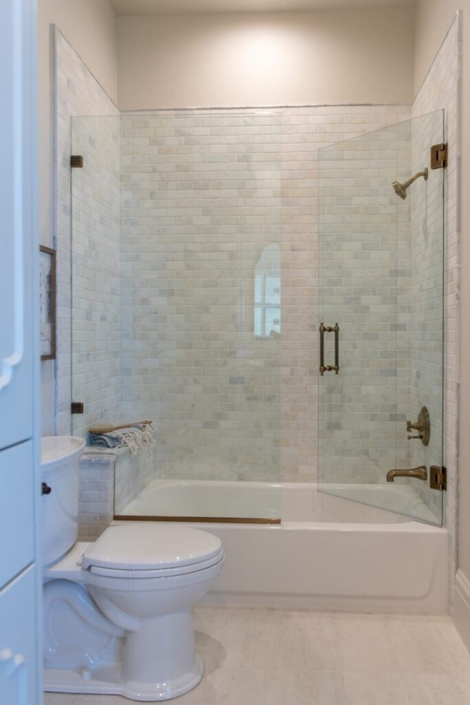 Combined tub and shower